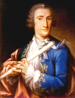 Portrait of a flutist, possibly Quantz, by Jean Chrétien de la Fontaine (1751) (private collection, Washington DC)